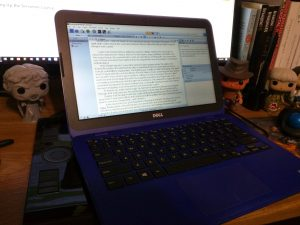 Laptop with Scrivener