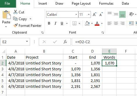 Excel Tracking Word Counts Formula